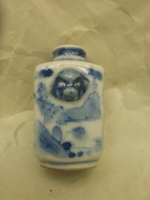 Antique Chinese Blue and White Snuff Bottle with Qianlong Mark