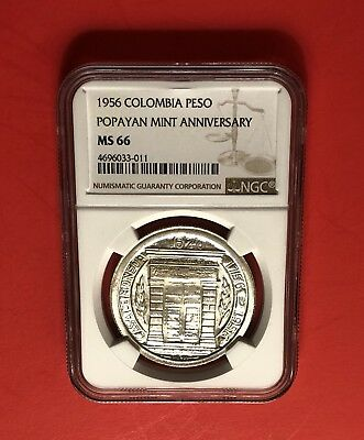 Colombia-Uncirculated 1956-1 Peso Silver Crown ,graded By Ms-66 Ngc.