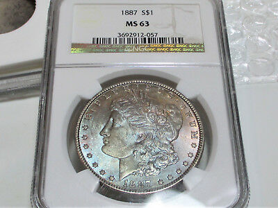 1887 Morgan Silver Dollar Ngc Ms63 Toned Stunning Us Coin.
