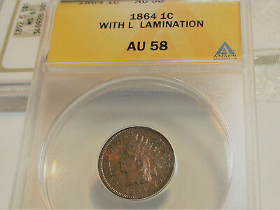 "1864 L INDIAN HEAD CENT PENNY 1c ANACS AU58 US COIN ""RARE BEAUTY"""