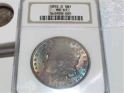 1892-O Morgan Silver Dollar Ngc Ms61 Toned Stunning Us Coin.
