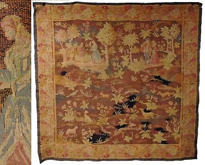 Antique 18th Century Hand Woven Franco Flemish Aubusson Style Belgian Tapestry