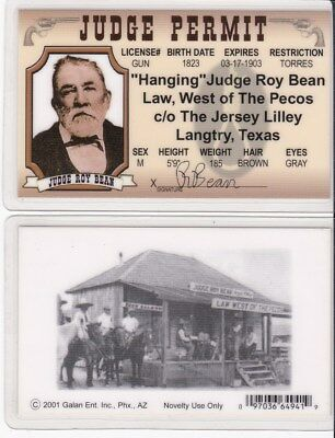 d Texas Picclick Of The - I License 97 Bean 2 Fake Judge Roy Drivers Hanging Langtry Tx Card