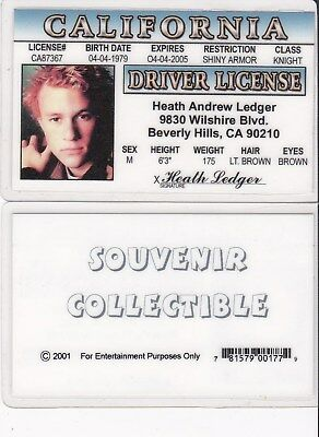 HEATH LEDGER STAR actor JOKER in BATMAN California Drivers License fake id  card
