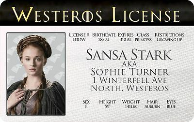Sansa Stark GAME OF THRONES Sophie Turner Winterfell card Drivers License