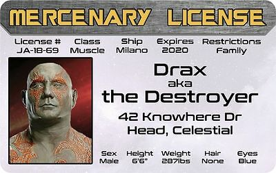 DRAX / Dave Bautista  Guardians of the Galaxy Marvel Comics Drivers License