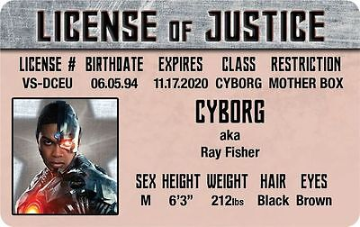 JUSTICE LEAGUE of AMERICA Cyborg RAY FISHER plastic ID card Drivers License