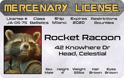 ROCKET RACOON  Guardians of the Galaxy Marvel Comics ID Drivers License