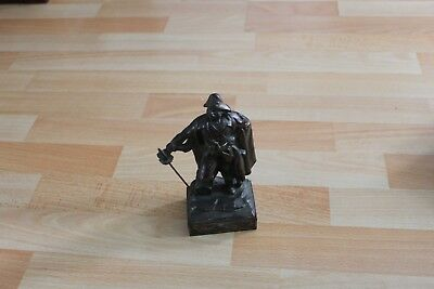 Pirate Swashbuckler Buccaneer & Treasure Chest cast Bronze Sculpture Statue