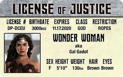 The JUSTICE LEAGUE of AMERICA Wonder Woman Gal Gadot ID  card Drivers License