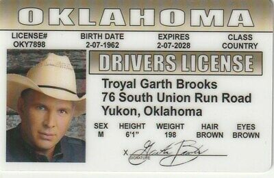 Garth Brooks Country Music Singer We Shall Be FREE ID card Drivers License