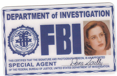 Dana Scully the Xfiles X-Files ID card Halloween Identification Card I.D. card