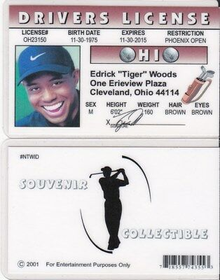 fantastic Golfer Tiger Woods Cleveland Ohio OH drivers License fake id card