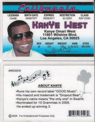 CALIFORNIA RAPPER DRIVERS License fake id card - $2 97
