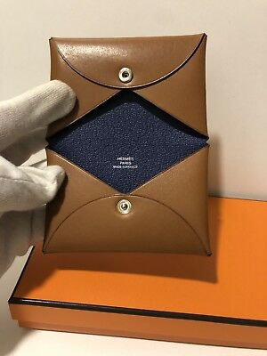 Auth NEW Hermes Calvi Barenia Leather Blue Sapphire Interior Card Holder Wallet