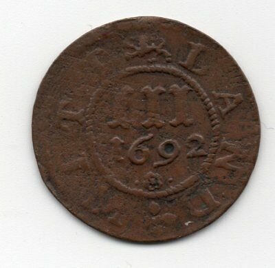 1692 Mecklenburg Gustrow 3 Pfenning Copper Coin Wittland German States Germany