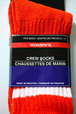 Vtg 70's Socks Orange White Crewsocks Crew Stripe Womens 1 Pair NEW Package bc