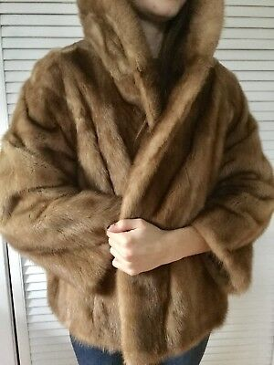 Lovely Vtg Cropped Short Honey Mink Fur Coat Cape Huge Fur Backed Collar S-L