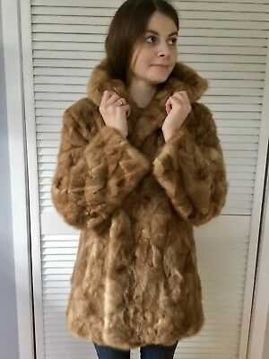 Lovely Vtg Honey Mink Fur Patterned Car Stroller Coat Fur Backed Collar S-M