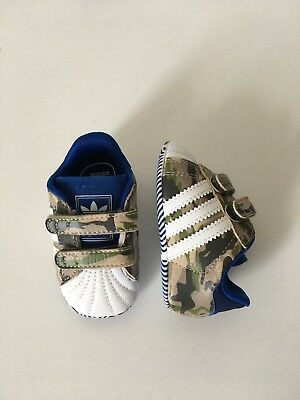 Baby Adidas Superstar 2 Crib Shoes Size Us 1K Camo Blue Brown White