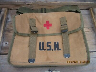 90T100%Orig WWII WW2 Corpsman Combat Medic USN  USMC First Aid Medic Bag Pouch