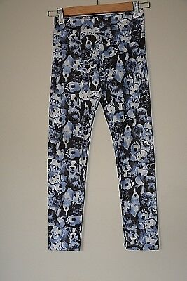 Girls dog print tights in shades of blue - Size 10