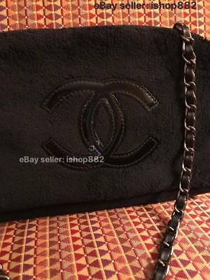 Gray Hardware Faux Leather Chain Semi Circle Chanel Beauty Makeup Bag VIP Gift