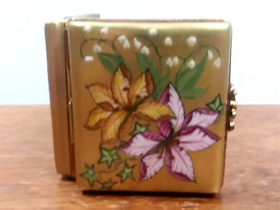 Vtg Limoges Peint Main Chamart Painted Floral Gold Mini Heart Picture Frame