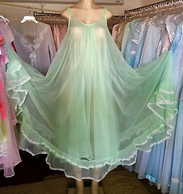 "Vtg MISS ELAINE Nightgown~Green DBL Chiffon~Lingerie Nighty GOWN~M-L-XL to 48""B"