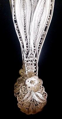 1960s Exquisite SILVER Lacy FLORAL FILIGREE Sugar TONGS Hand Made SYRIA New MINT