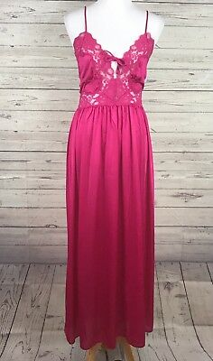 VTG INDULGENCE Pink with Lace Trim Long Nightgown Size Large NWT