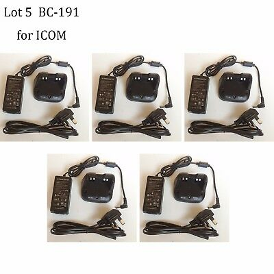 5X BC-191 NI-MH Rapid Charger Power Supply for ICOM IC-F3103D IC-F4103D Radio