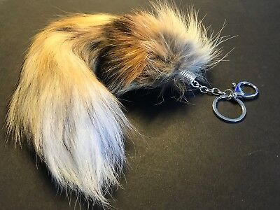 35cm Natural Genuine Fox Cosplay Tail Key Chain Fur Tassel Bag Charm