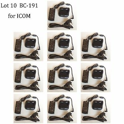 10X BC-191 NI-MH Rapid Charger Power Supply for ICOM IC-F3003 IC-F4003 Radio