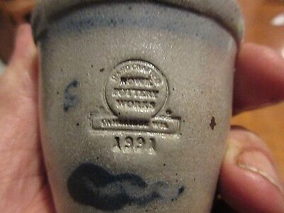 Vintage Mini 1991 Rowe Pottery Miniature Blue Salt Glaze Crock