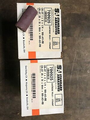 "Standard Abrasives cartridge roll lot of 50 1"" dia x 2"" 100 grit"