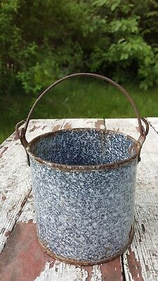 Antique Primitive Rustic Gray and White Graniteware Berry Bucket