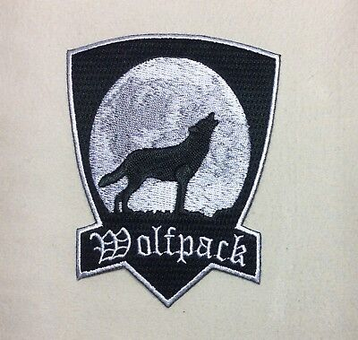 Wolfpack Patch Black With Howling Moon Native Indian Wolf Biker Patch