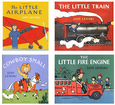 Cowboy Small,Little Airplane,Little Fire Engine,Plane by Lois Lenski 4 Hardcover