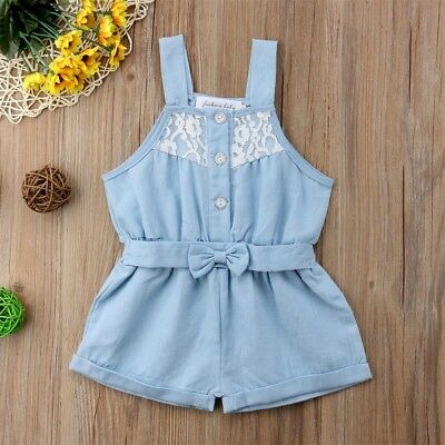 CANIS Newborn Toddler Girls Denim Lace Romper Jumpsuit Outfits Clothes Sunsuit