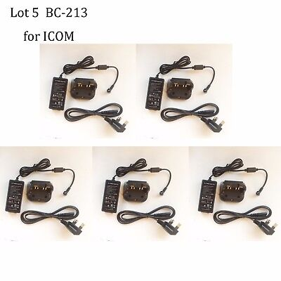 Lot 5 BC-213 Rapid Charger Adapter for ICOM IC-F1000T IC-F1000S IC-F1000 Radio