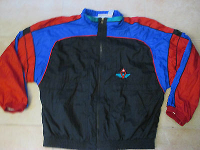 VINTAGE LE COQ SPORTIF SEWN XL BLACK/BLUE/RED ZIP-UP WINDBREAKER 80s/90s PREOWNE