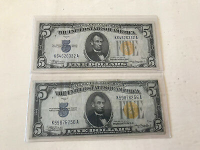 LOT OF TWO 1934a $5 NORTH AFRICA SILVER CERTIFICATES