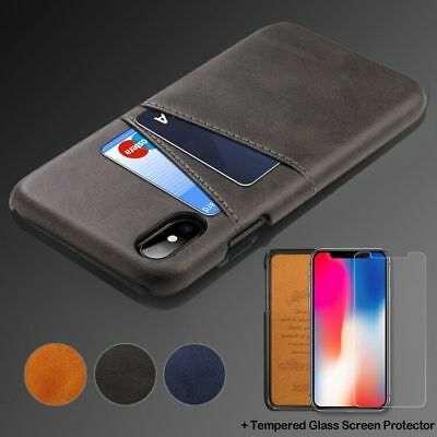 For iPhone X Classic Shockproof Leather Credit Card Holder Back Case Cover Shell