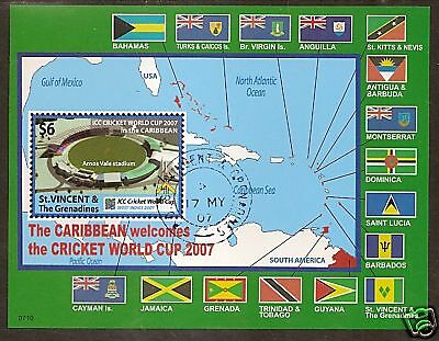 ST VINCENT 2007 CRICKET WORLD CUP FLAGS MAP Souvenir Sheet FINE USED
