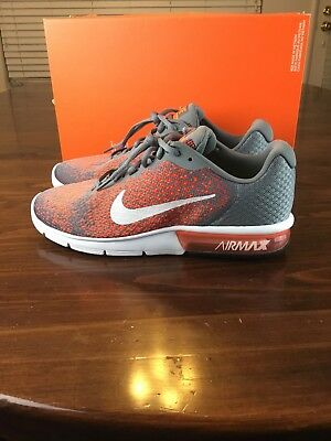 1c0ac1eefe5 Mens Nike Air Max Sequent 2 Cool Grey Orange Wht Running Shoes 852461-008 Sz