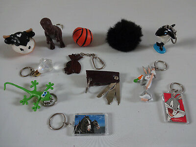 Vintage Retro Lot of 12 Assorted Key Chains Key Rings Bugs Bunny Anheuser Busch