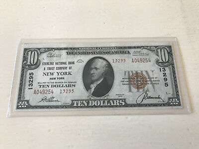 1929 $10 Sterling Nb New York,ny Ch.13295 Type 2 Uncirculated