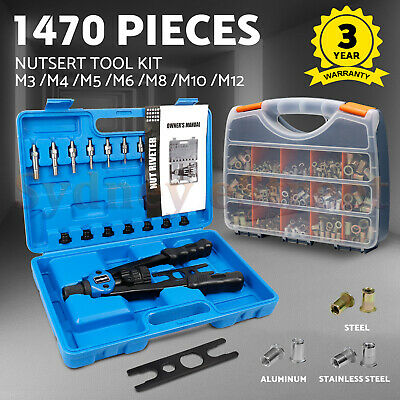 1400pcs Nutsert Tool Kit Rivnut Stainless Steel Rivet Nut Gun Mandrels M3-M12 OZ