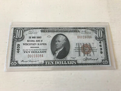 1929 $10 Wood County Nb Wisconsin Rapids,wisconsin Ch.4639 Uncirculated